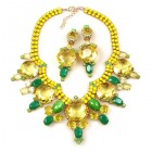 Taj Mahal Necklace Set with Earrings ~ Opaque Yellow with Jonqui