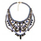 Crazy Meadow Necklace ~ Black with Blue ~ Antique Gold
