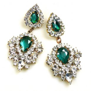 Lioness Pierced Earrings ~ Clear with Emerald