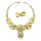 Charmeur Set Necklace with Earings ~ Crystal Opaque Yellow