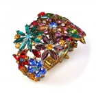 True Love ~ Clamper Bracelet with Flowers ~ Multicolor