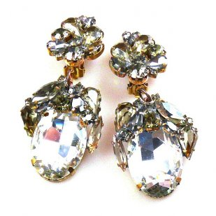 Fiore Clips Earrings ~ Smoke with Clear Ovals
