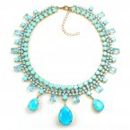 Raindrops Necklace ~ Opaque Aqua and Light Sapphire