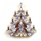 Xmas Tree Brooch #03 ~ Violet Clear Crystal