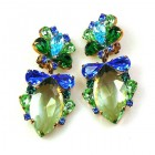 Floralie Earrings with Clips ~ Green with Blue