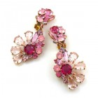 Power of Flowers ~ Earrings with Clips ~ Pink Tones