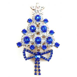 Xmas Tree with Bow Pin ~ Clear Blue