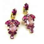 Raquel Earrings Clips ~ Fuchsia