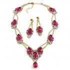 Hortensia Set ~ Clear Crystal with Fuchsia ~ Pierced Earings