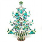 13 Inches Giant Xmas Tree with Octagons ~ Green Tones AB Clear