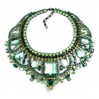 Enchanted Necklace Green Tones ~ Extra Big ~ Black Plated