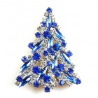 Navette Xmas Tree Brooch ~ Blue Clear
