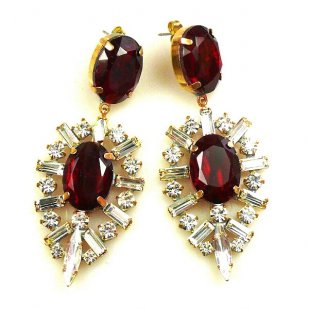 Ella Earrings Pierced ~ Baguettes and Ovals ~ Ruby