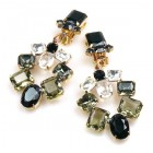 Xia Earrings Clips ~ Black Smoke Crystal