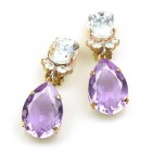 Effervescence Earrings with Clips ~ Violet Clear Crystal