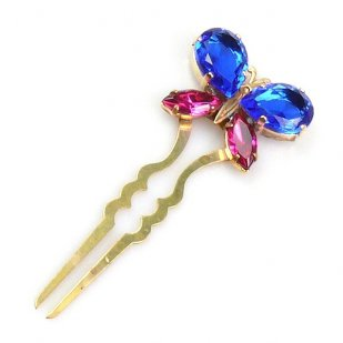 Hairpin Bobbi with Butterfly ~ Blue Fuchsia