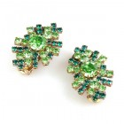 Genova Clips Earrings ~ Green