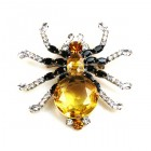 Little Spider Pin ~ Yellow and Clear Crystal