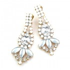 Pure Luxury Clips Earrings ~ Clear Crystal with Opaque White