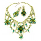 Touch of Eternity Necklace with Earrings ~ Olive Green Emerald