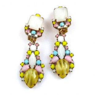 Miracle Clips-on Earrings ~ Pastel Colors Opaque Yellow