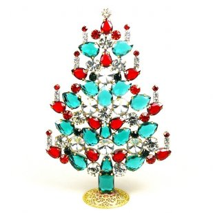 Rivoli Xmas Stand-up Tree 16cm ~ Emerald Clear Red