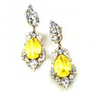 Grand Mythique Earrings for Pierced Ears ~ Crystal Silver Yellow