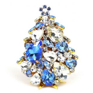 3 Dimensional Medium Xmas Tree Decoration ~ Sapphire Clear