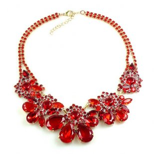 Parisienne Bloom Necklace ~ Red Tones