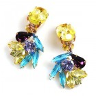 Close to Heaven Clips Earrings ~ Yellow Multicolor