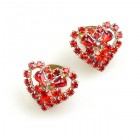 Red Hearts #3 ~ Clips-on Earrings