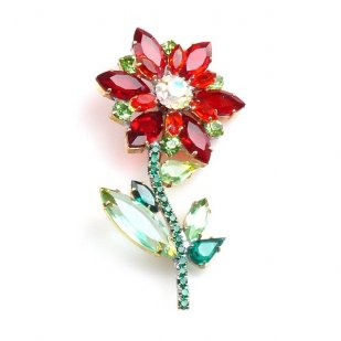 Flower Brooch ~ Red