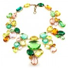 Swirling Colors ~ Yellow Green Pink Topaz Huge Necklace