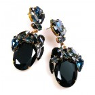 Fiore Pierced Earrings ~ Black Ovals with Montana Blue