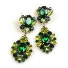 Aztec Sun Earrings Pierced ~ Emerald Olive Green