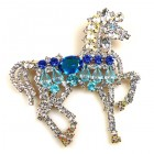 Liberty Horse Brooch ~ White with Blue