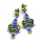 Fatal Kiss Earrings Pierced ~ Olive Green with Blue