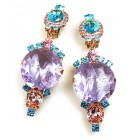 Taj Mahal Earrings Clips ~ Violet Multicolor
