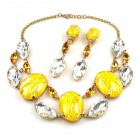 Lucrecia Necklace with Earrings ~ Crystal Yellow