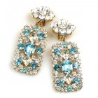 Zara Clips-on Earrings ~ Clear Crystal with Aqua