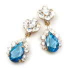 Fountain Clips-on Earrings ~ Crystal with Gold Blue