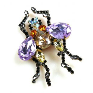 Large Fly Brooch with Violet Crystals