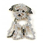 Puppy Brooch ~ Clear Crystal
