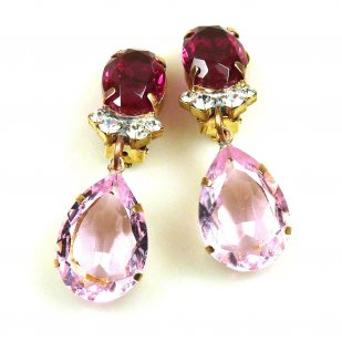 Effervescence Earrings with Clips ~ Pink Fuchsia