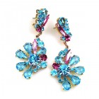 Power of Flowers ~ Earrings for Pierced Ears ~ Aqua Fuchsia