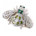 Bumblebee Brooch ~ Clear Crystal Emerald Olive