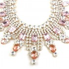 Extra Big Crystal Necklace ~ Clear Crystal and Pink