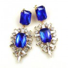 Ella Earrings Pierced ~ Baguettes and Octagons ~ Blue