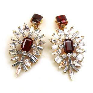 Ella Earrings Clips ~ Baguettes and Octagons Longer ~ Ruby