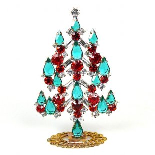 Xmas Tree Standing Decoration 2018 #05 Clear Red Emerald